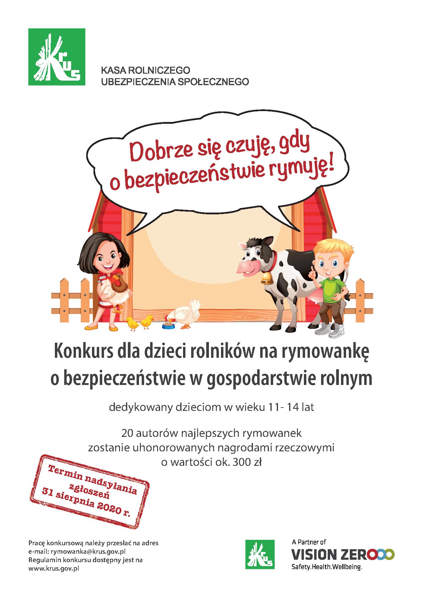 Konkurs dla dzieci rolników na rymowankę o bezpieczeństwie w gosp. rolnym