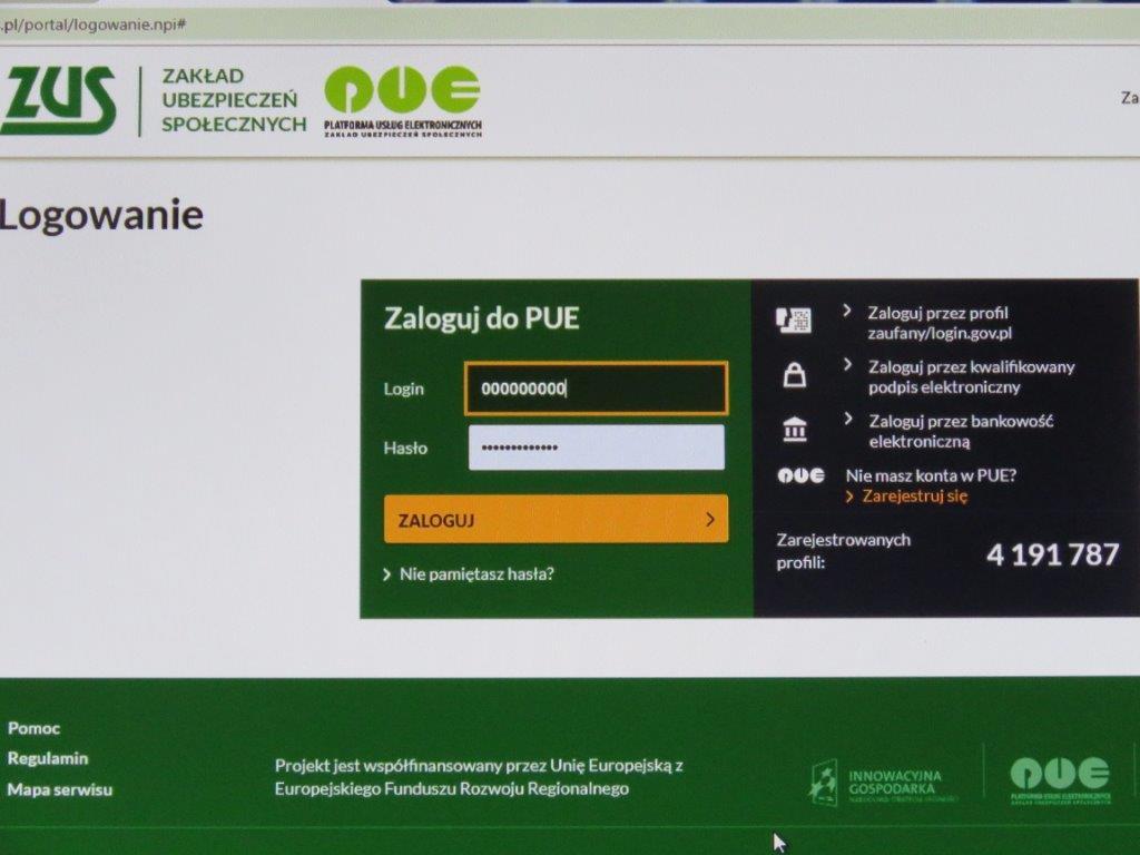 Platforma Usług Elektronicznych (PUE) ZUS - logowanie